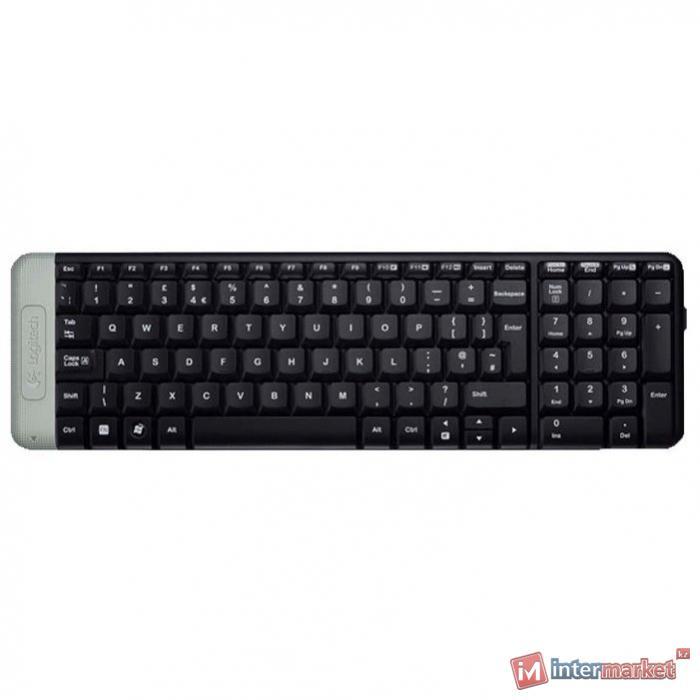 Клавиатура беспроводная Logitech K230 (приемник Unifying, 2 батарейки AAA, две сменных крышки для батарейного отсека голубого и фиолетового цветов)